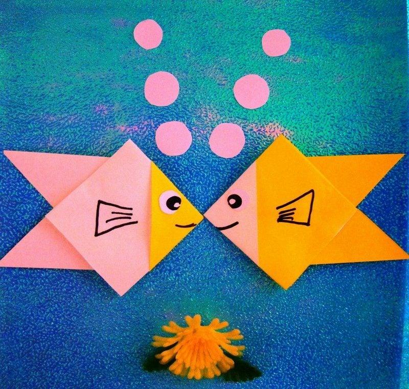 einfache Bastelideen Origami Fische