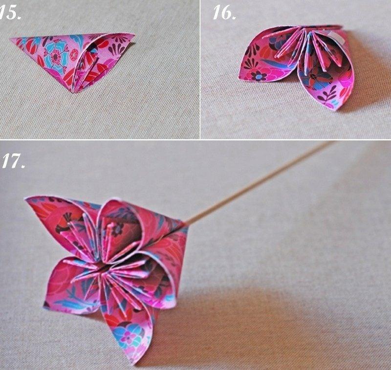 DIY Origami Blumen Anleitung