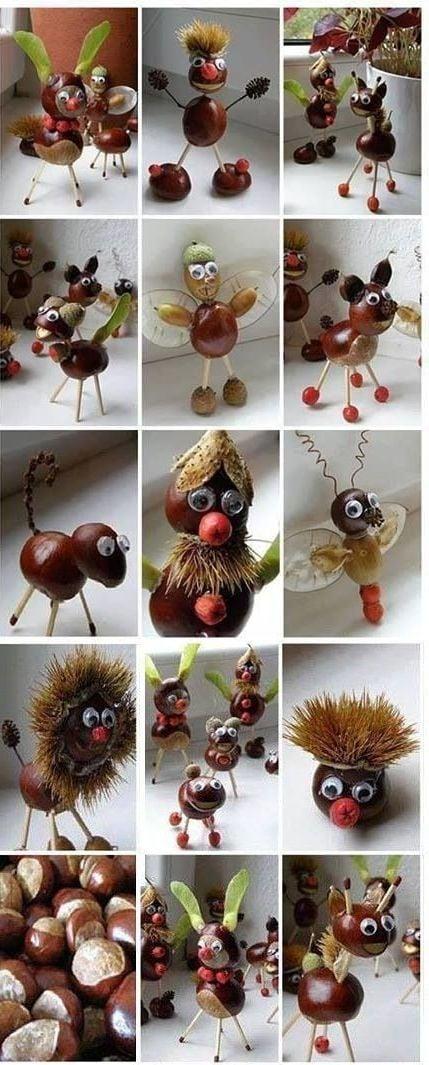 Kastanien mit Blätter - kreative Ideen