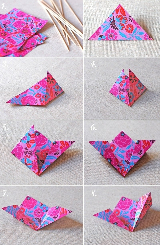 DIY Ideen Blumen falten aus Verpackungspapier