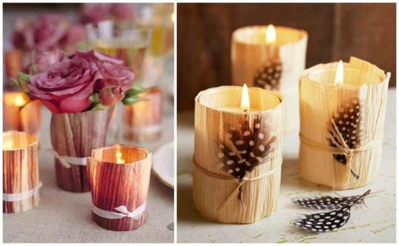 Tischdeko Herbst Teelichthalter mit Maisblättern verzieren
