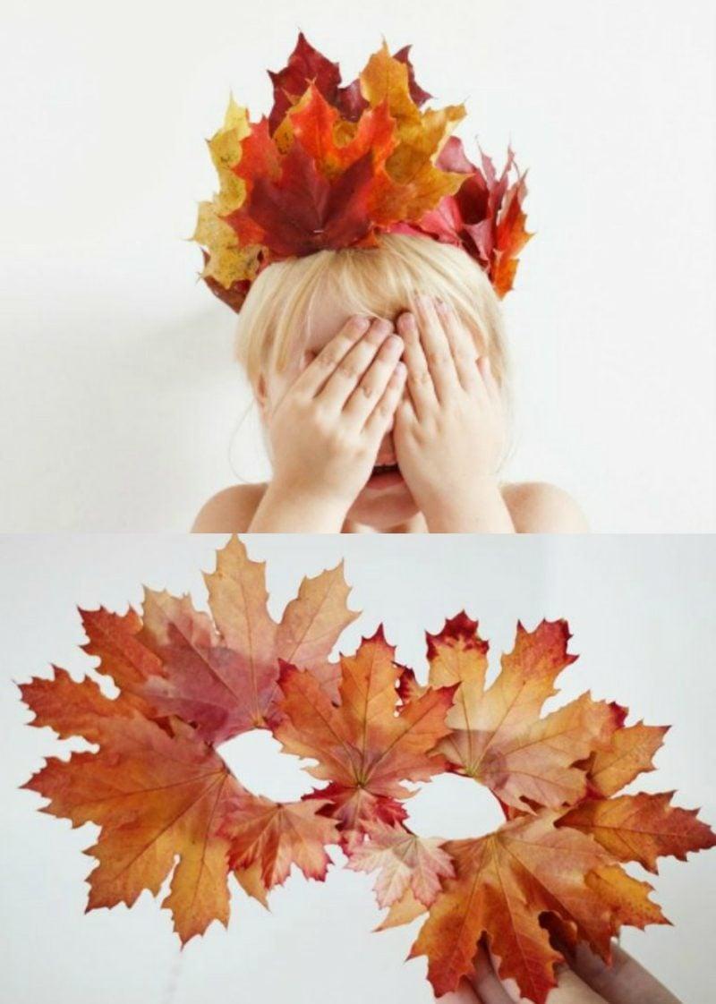 Basteln mit Kindern Herbst Krone Maske