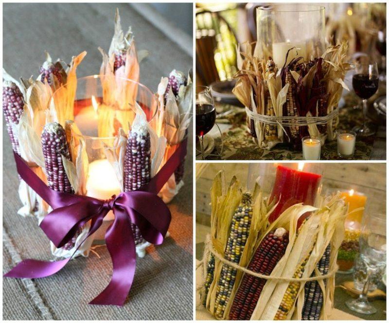 Tischdeko Herbst Ideen mit Maiskolben