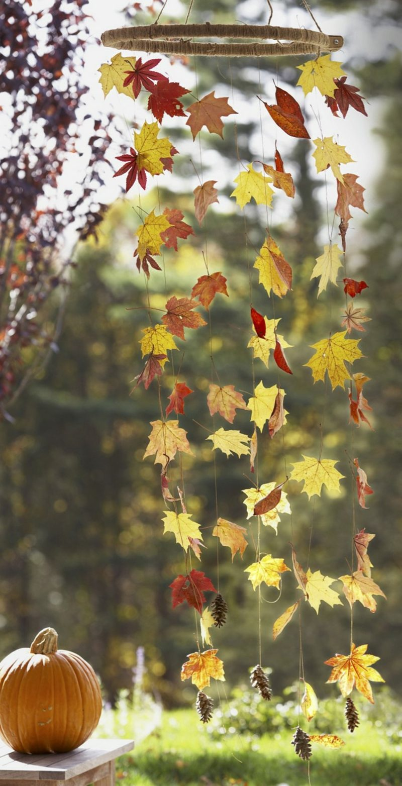 Herbstdeko modern Bastelideen mit Naturmaterialien