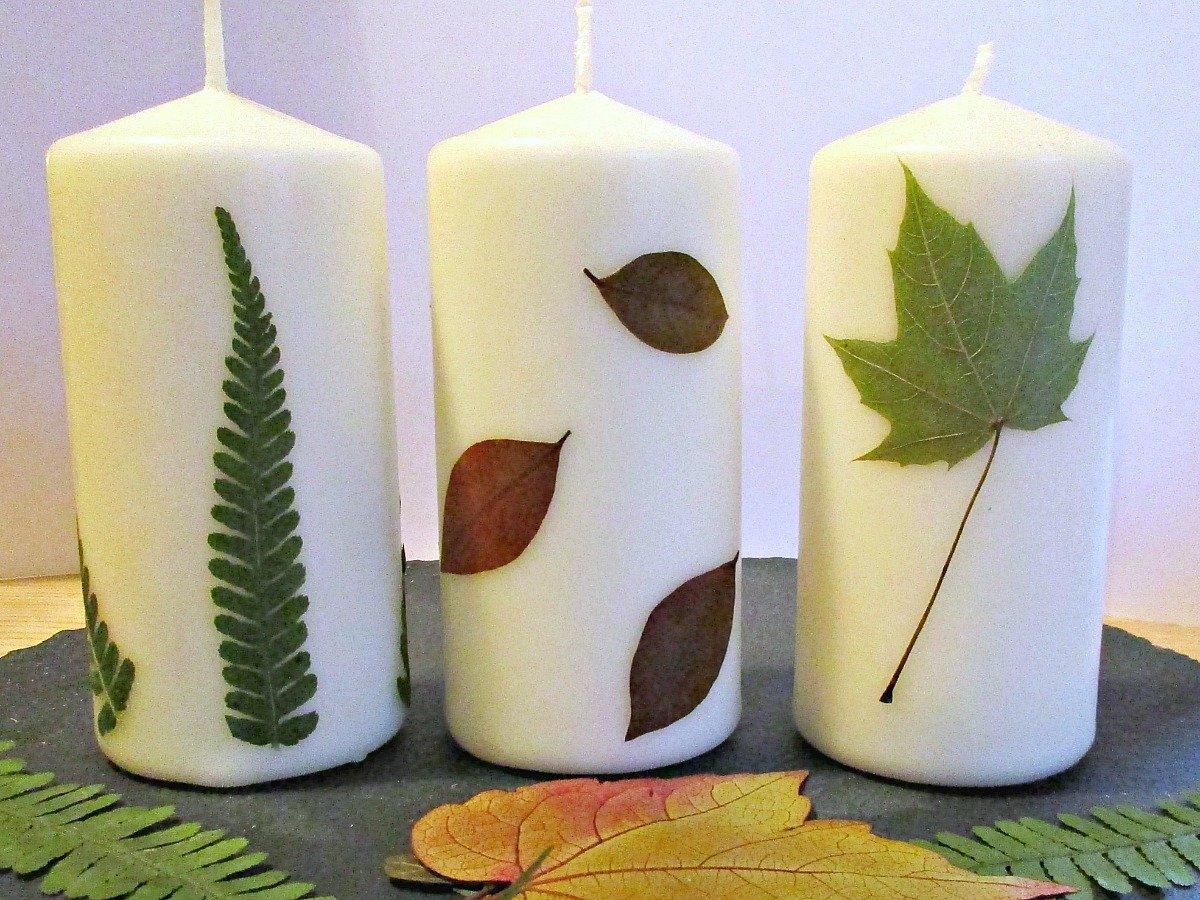 Ideen für Kerzen-deko mit Blättern