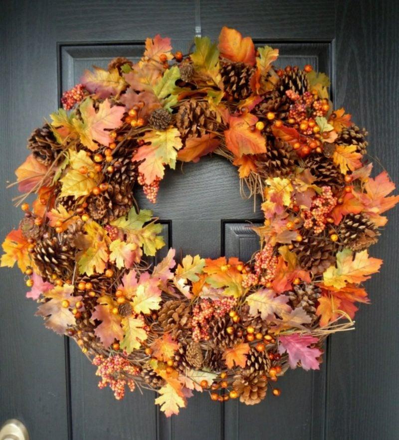 Bastelideen für Erwachsene Türkranz Herbst