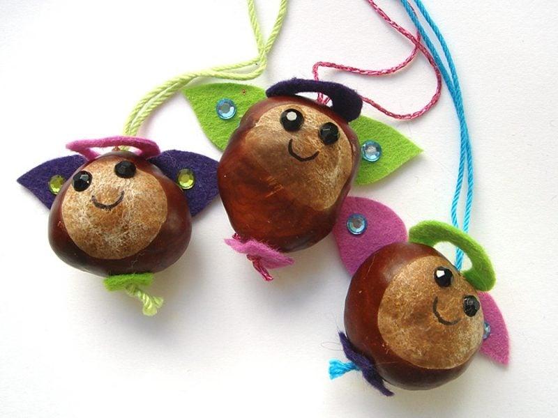 Weihnachstsbasteln mit Kindern Vorlagen Kastanienengelchen
