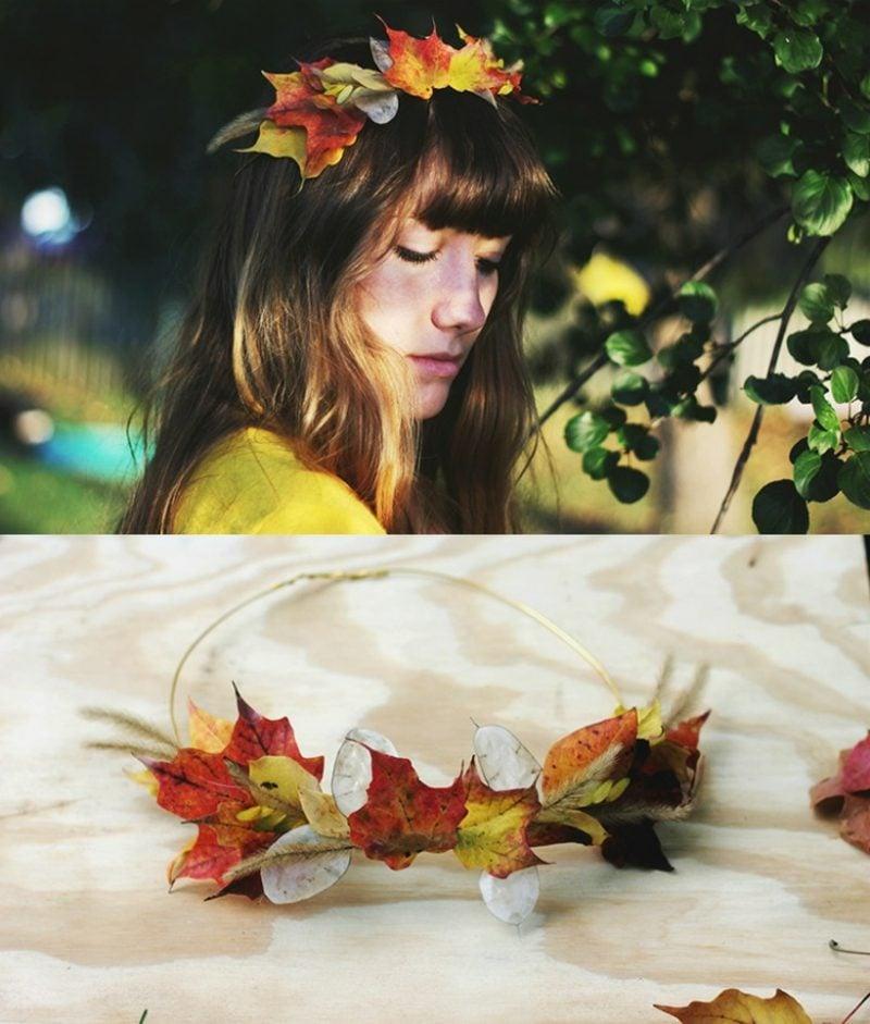 Basteln mit Kindern Herbst Krone aus bunten Blättern