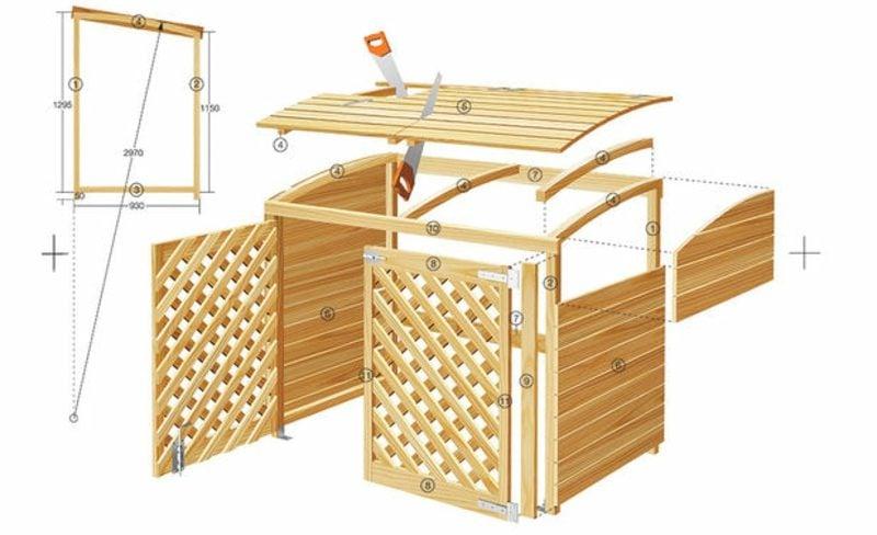 g nstige ideen f r den au enbereich m lltonnenbox selber bauen. Black Bedroom Furniture Sets. Home Design Ideas