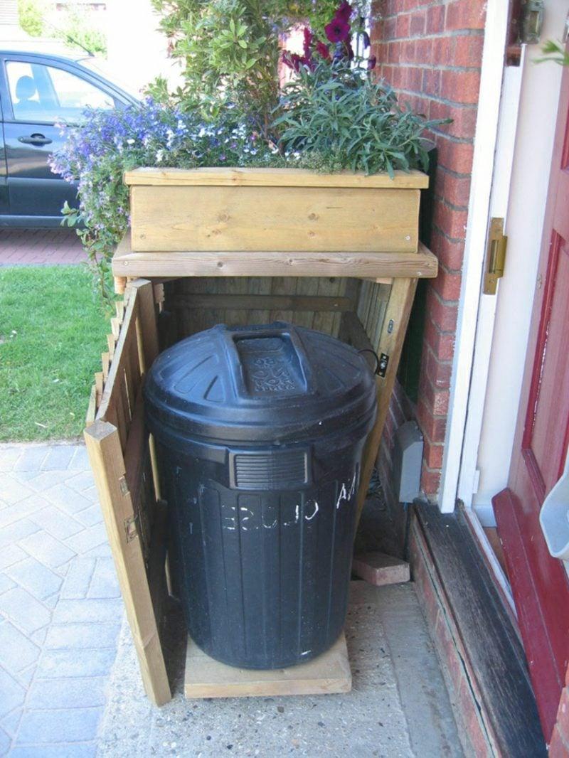 Mülltonnenverkleidung Holz Dach bepflanzt