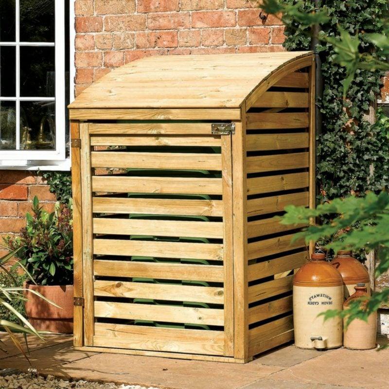 Mülltonnenbox Holz abgerundetes Dach herrlicher Look
