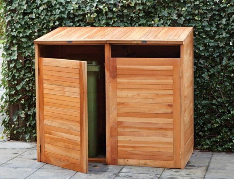 Mülltonnenbox Holz offenes Design DIY Ideen