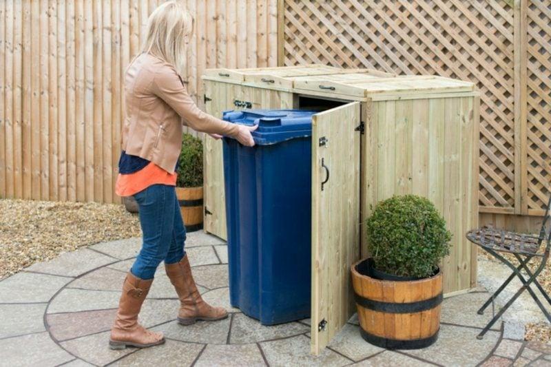 Mülltonnenboxen Holz bodeneben herrlicher Look