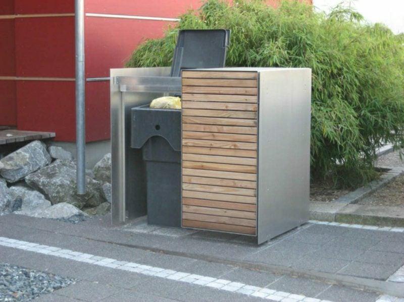 Mülleimerboxen Edelstahl und Holz