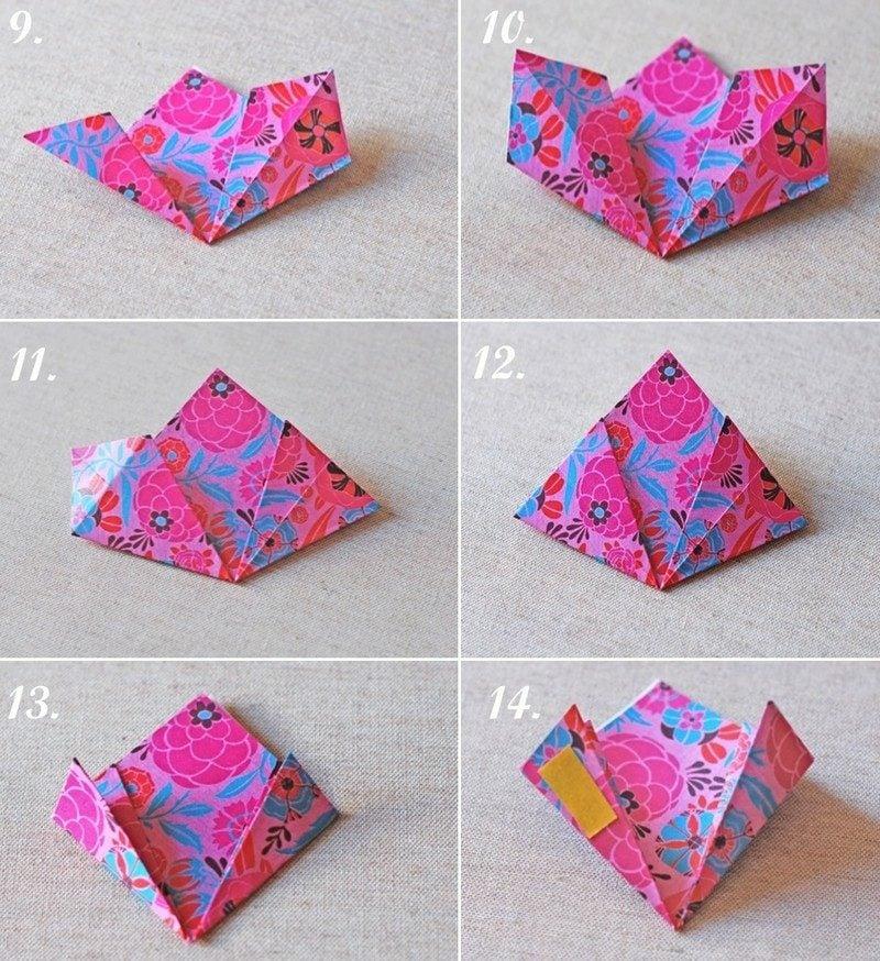 Geschenk basteln Origami Blume