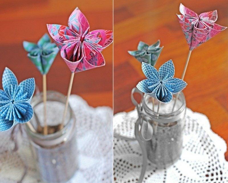 Geburtstagsgeschenk basteln herrliche Blumen aus Papier
