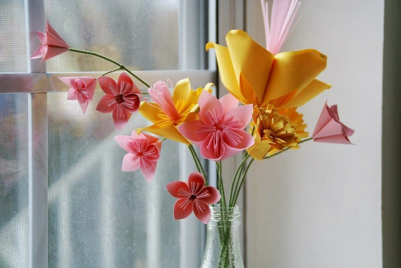 Basteln mit Papier Origami falten Blumen