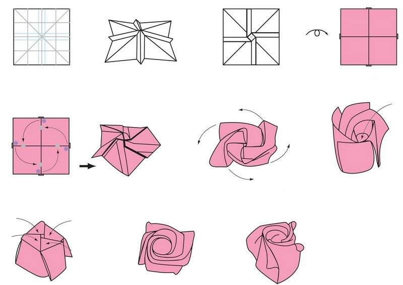 Bastelvorlagen Origami Rose falten