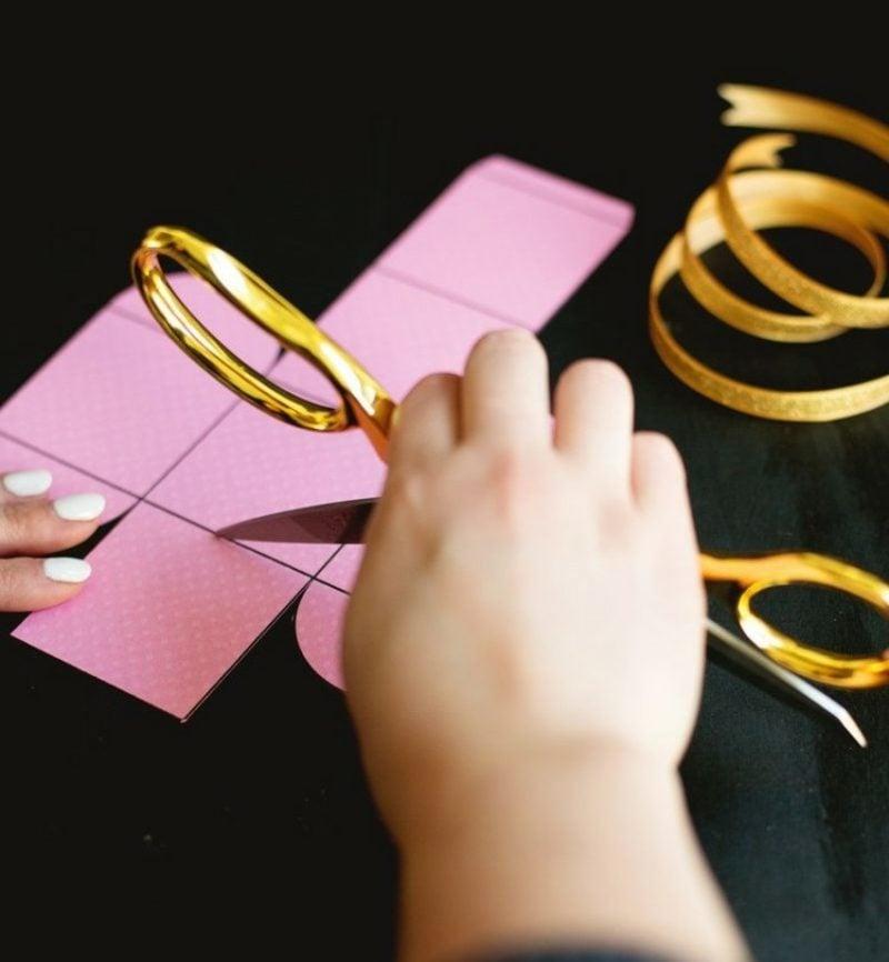 Papierschachtel falten Bastelvorlagen