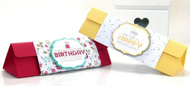 Geburtstagsgeschenk basteln Papierschachtel falten