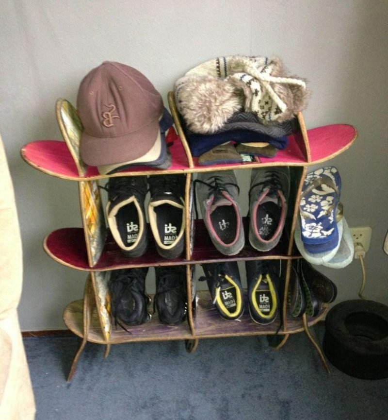 Eckregal selber bauen Skateboards Jugendzimmer