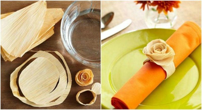Tischdeko Herbst Serviettenhalter aus Maisblättern