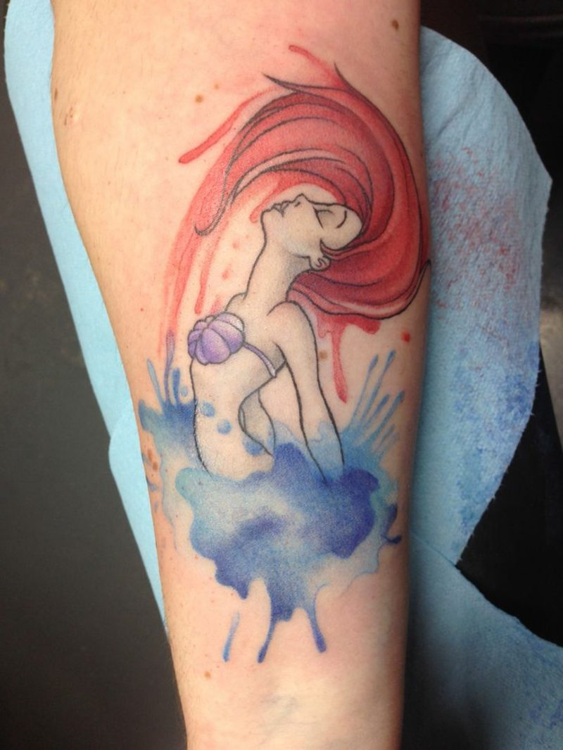 Aquarell modern Tattoo Meerjungfrau herrlicher Look