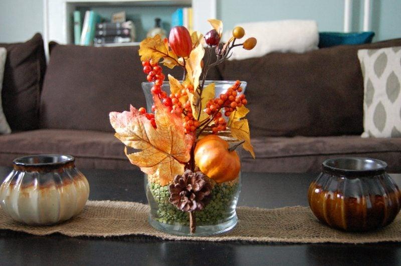 Tischdeko Herbst Naturmaterialien