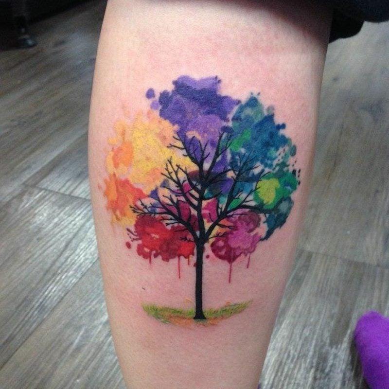Aquarell Tattoo Oberschenkel Baum