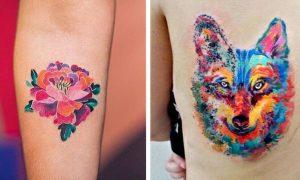 sich einen Aquarell tattoo stechen lassen 2 Ideen