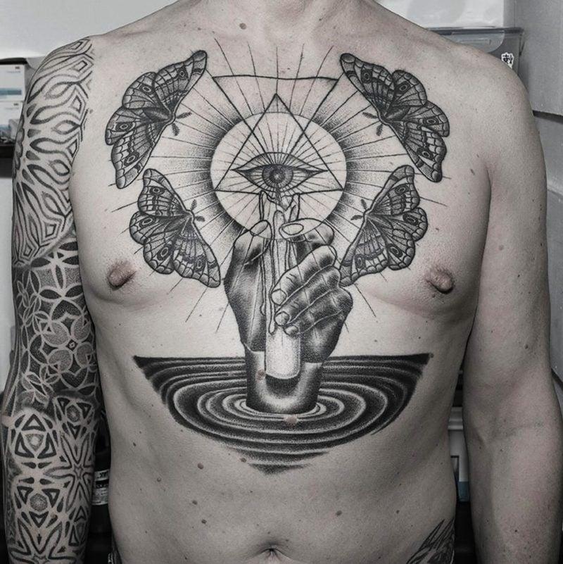 augen tattoo arm das dritte auge tattoo mit totenkopf. Black Bedroom Furniture Sets. Home Design Ideas