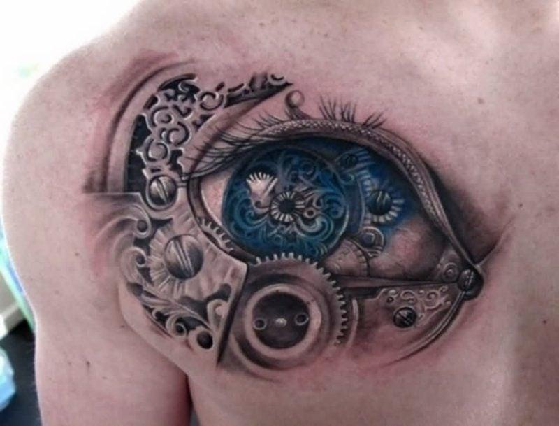 biomechanisches augen tattoo design