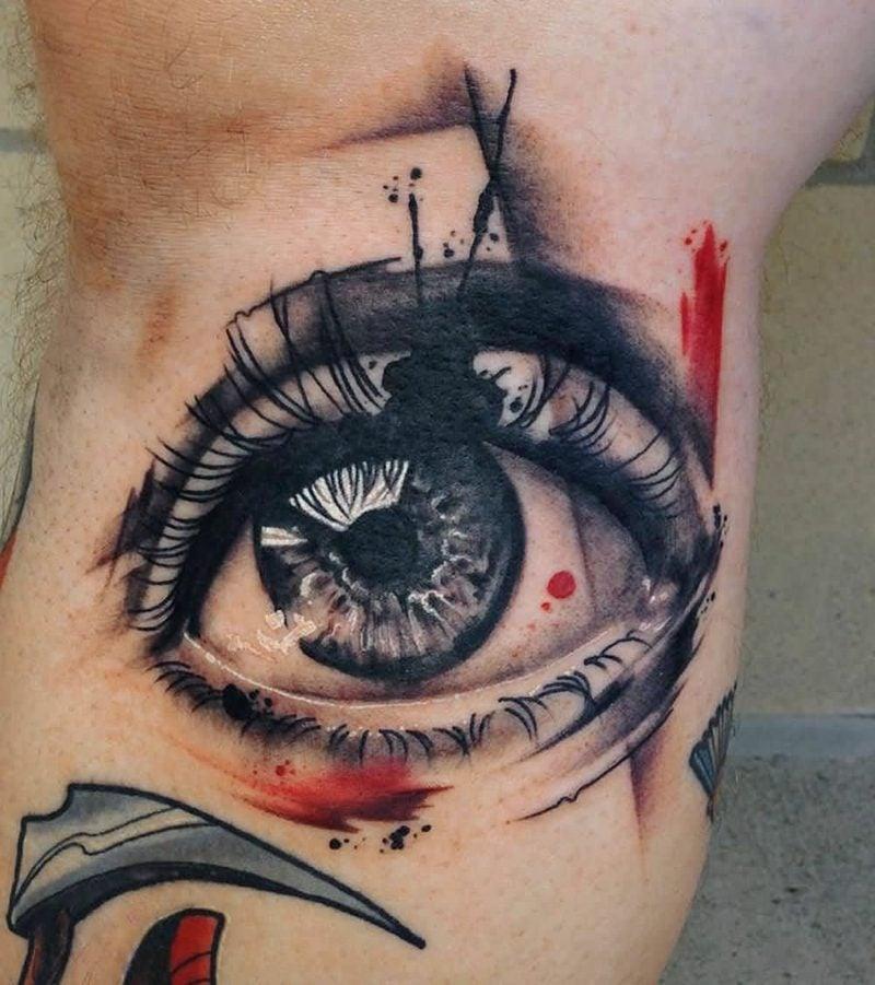 aquarell augen tattoo