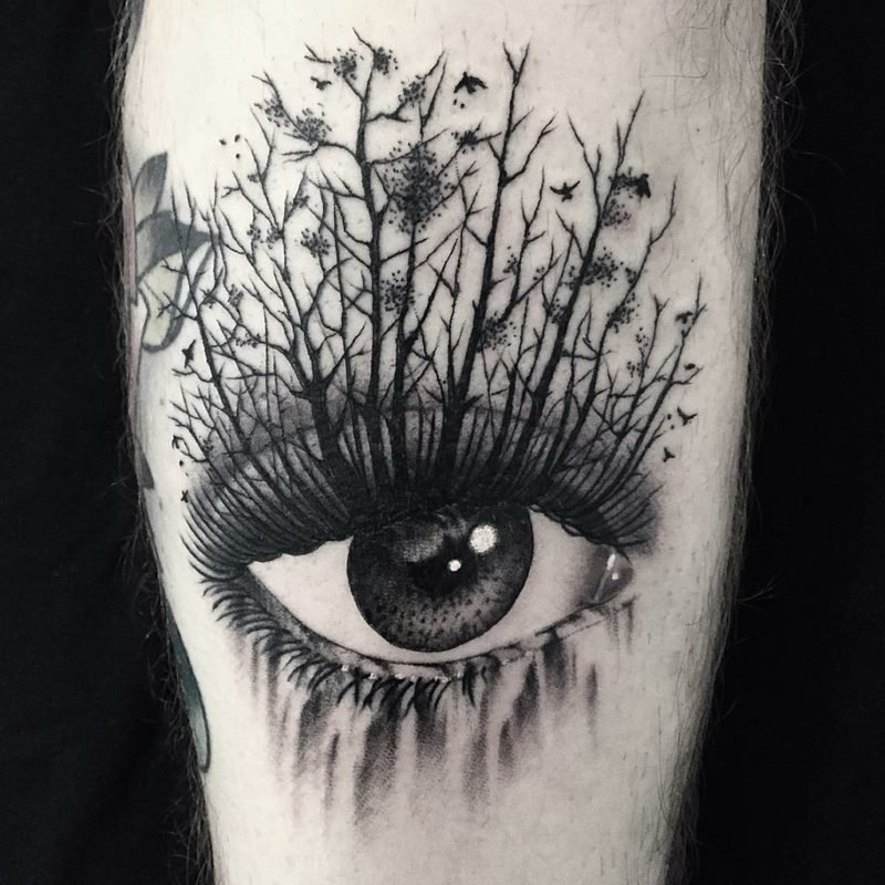 schwarz weiß augen tattoo natur bäume