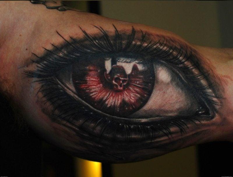 große augen tatto rot schädel