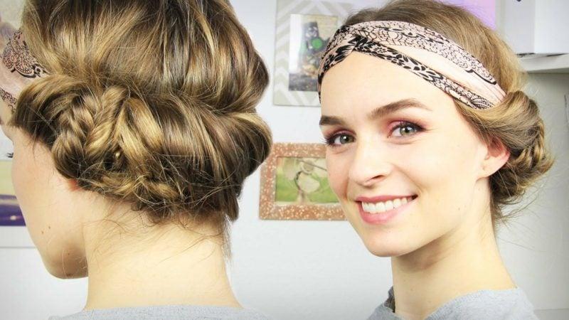 Haarband Frisur eingedreht zum Oktoberfest