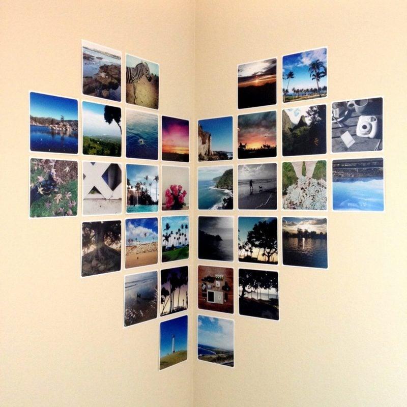 fotowand herzförmige collage eckwand