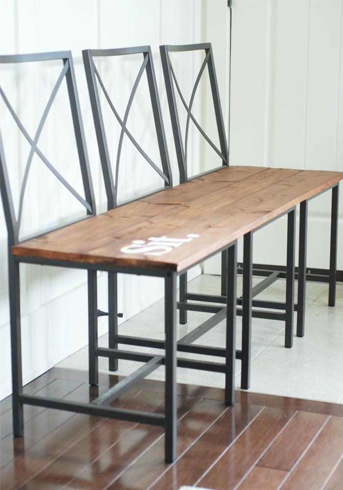 Gartenbank selber bauen aus Ikea Stühle