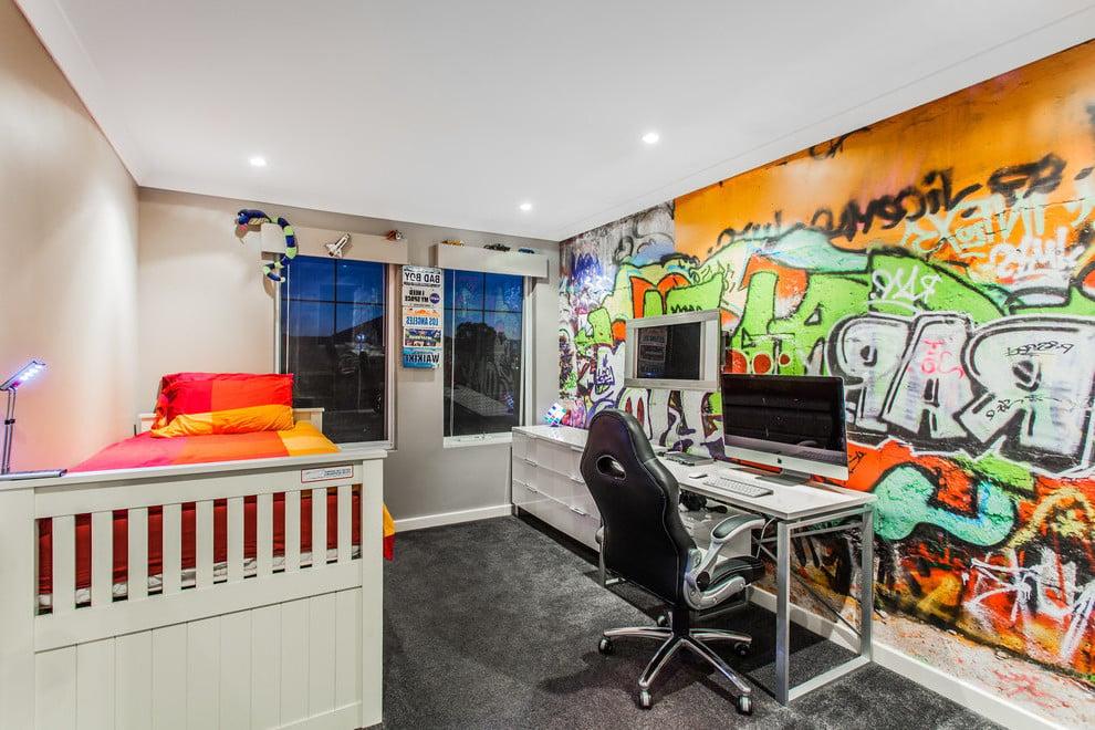 Jugendzimmer mit Graffitiwand