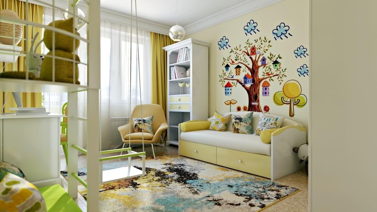 Helles Kinderzimmer mit schöner Wandbemahlung