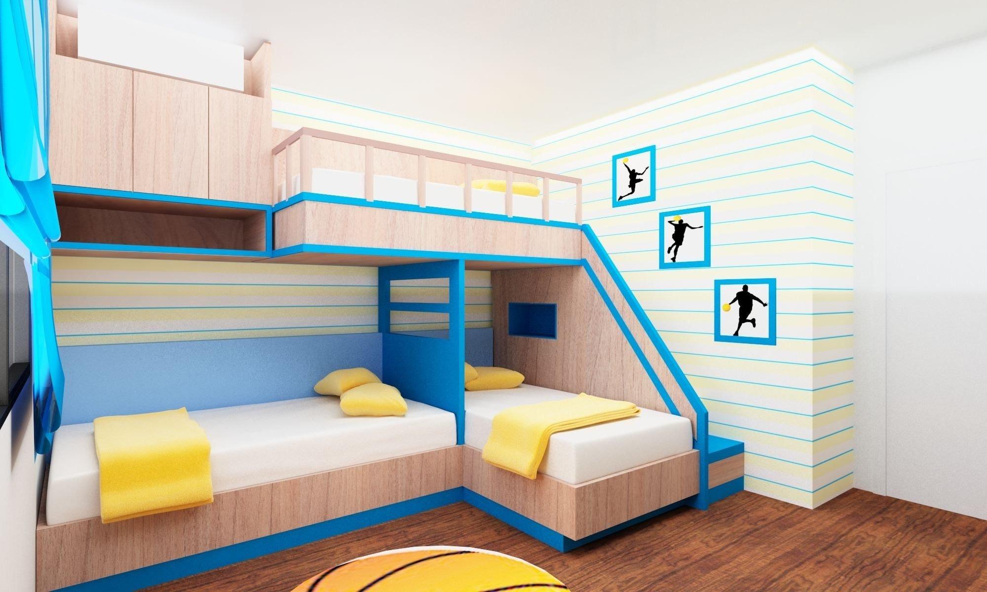 Kinderzimmer Gestaltung - Zwei-stockiges Bett für drei