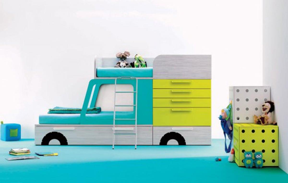 Tolle Kinderzimmer Gestaltung mit einem LKW-Bett