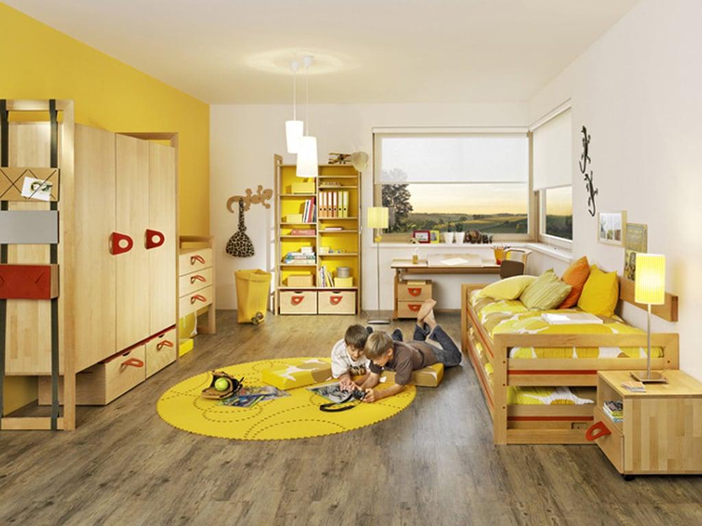 Kinderzimmer Gestaltung für zwei Kinder mit Sandwitschbett