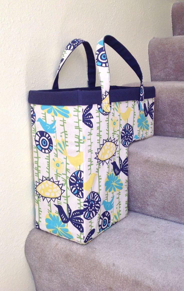 Kreative selbsgenähte Treppentasche, die nicht umkippen kann
