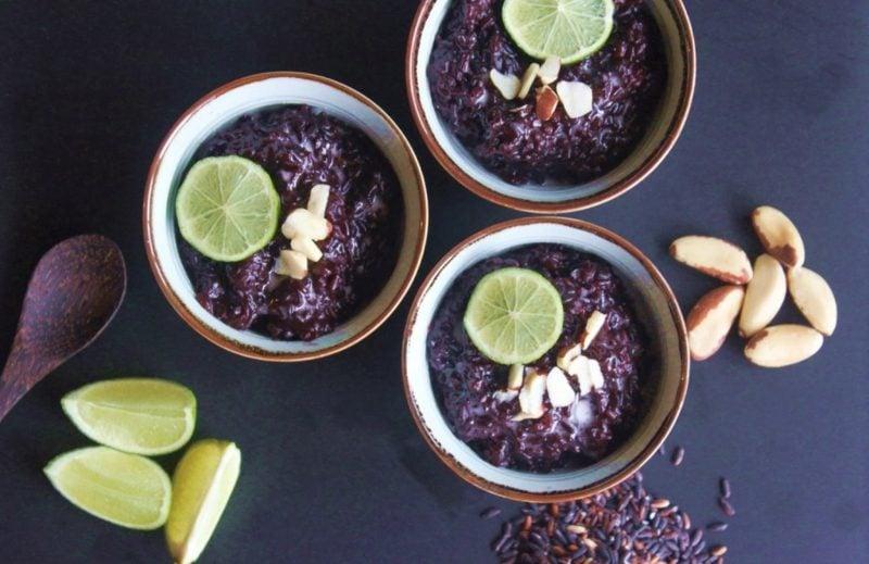 gesunde Reis Rezepte schwarzer Reis mit Milch und Frühten