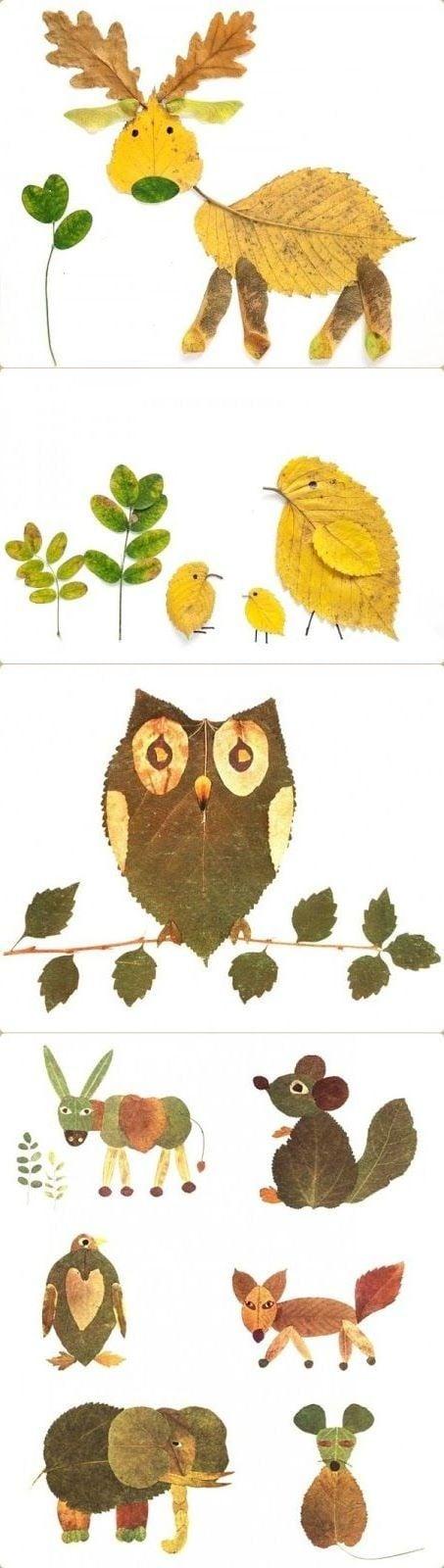Tiere basteln aus Herbstblättern