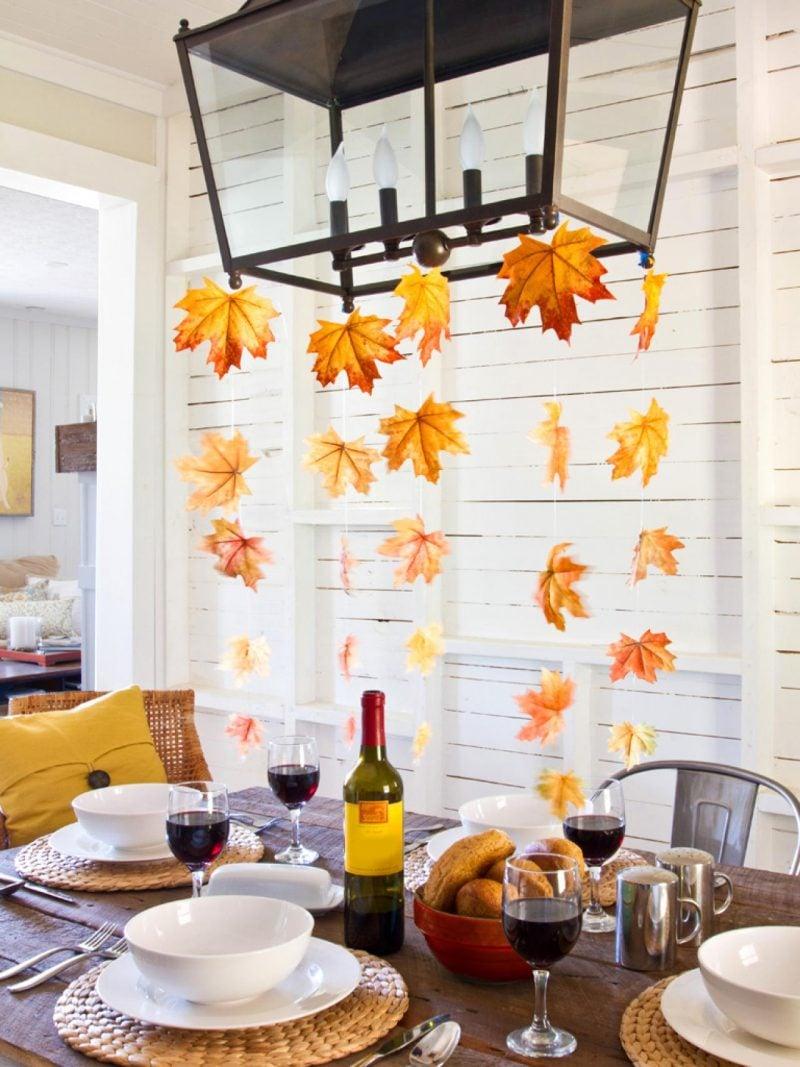 Tischdeko Herbst Girlande mit Herbstblätter
