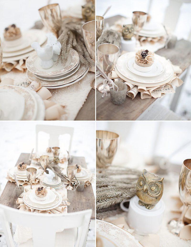Herbstdeko Tisch in Beige und Weiß