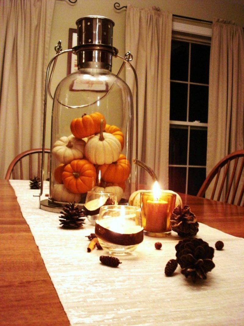 Herbst Tischdeko Mini Kürbisse