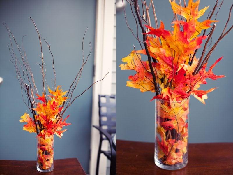 Tischdeko mit Herbstblätter